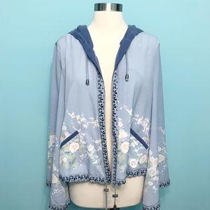 FREE PEOPLE Hooded Kimono Sleeve Open Front Jacket